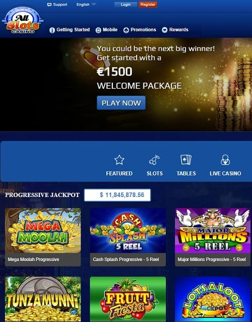 All Slots Casino 50 free spins exclusive welcome bonus