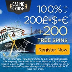 Casino Cruise | 200 free spins & 200% bonus up to £1,000 | review