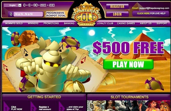 Mummys Gold Casino free bonus money
