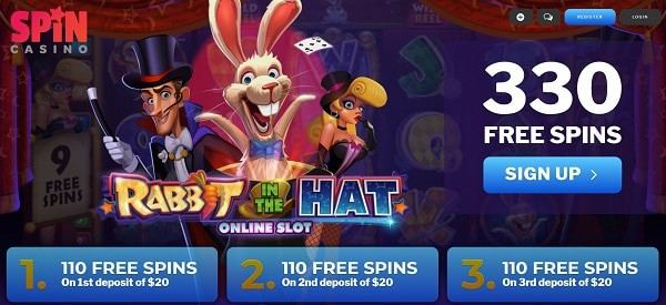 330 Free Spins Bonus after deposit