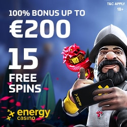 Energy Casino   70 free spins & 150% up to €400 free bonus   Review