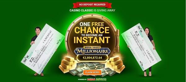 1 free spin on Mega Vault Millionaire