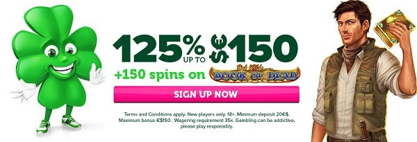 125% extra and 150 bonus spins on 1st deposit