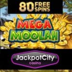 Jackpot CIty Casino free spins on Mega Moolah Jackpot