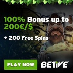 Betive Casino   310 free spins plus 100% up to €500 bonus   Play now!