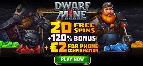 20 gratis spins + 2 EUR free bonus + 120% match bonus