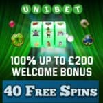 Unibet – 40 free spins and £200 casino bonus – the best in UK