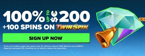 100% up to 200 EUR/USD/GBP welcome bonus and 100 free spins on Twin Spin