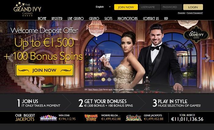 Grand Ivy Casino Screen of Website