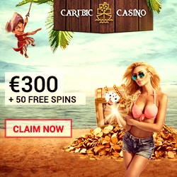 Caribic Casino 150% bonus up to €300 plus 125 free spins on jackpots