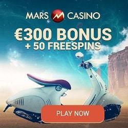 Mars Casino | 50 instant free spins + €300 (or 3 BTC) bonus | Review