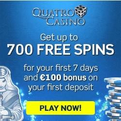 Quatro Casino   €100 no deposit bonus + 700 free spins   Review