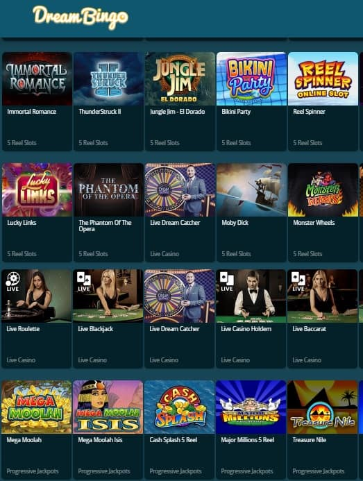 Dream Bingo Casino UK - free games, free bonuses, free spins