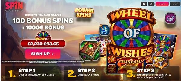 100 bonus spins on new jackpot slot