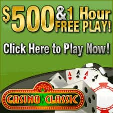 Casino Classic 50 free spins + $500 free play bonus + 100% welcome bonus