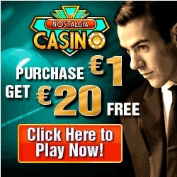 Nostalgia Casino $20 free chip + 100% free bonus + $500 free money