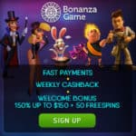 BonanzaGame.com - 100 free spins and $750 bonus in online casino