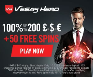 Vegas Hero Casino | €1000 welcome bonus and 50 free spins | Review