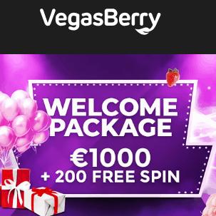 Vegas Berry Casino | €1000 cash bonus and 200 free spins | Review
