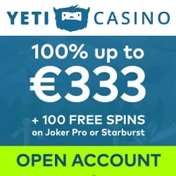 Yeti Casino   100 free spins + 100% free bonus up to €333   Review