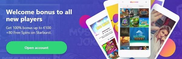 Claim  20 free spins + 100% up to 100 EUR + 80 gratis spins