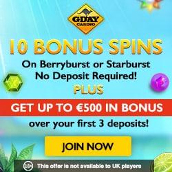 GDay 10 free spins + 500 EUR bonus + 50 gratis spins