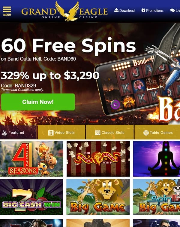 Grand Eagle Casino Register Play 60 Free Spins Bonus