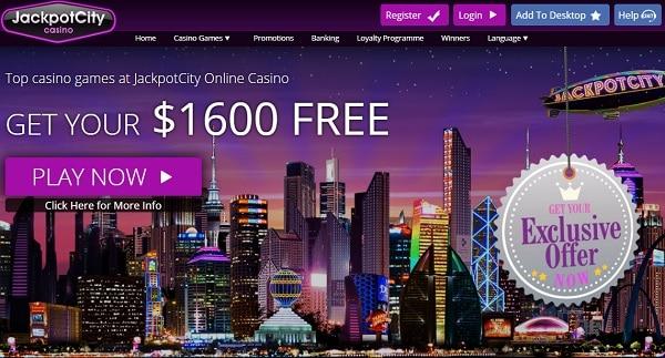 JackpotCity $1600 welcome bonus
