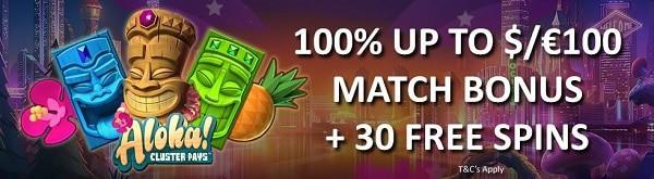 Wunderino Casino 100% bonus and 30 free spins