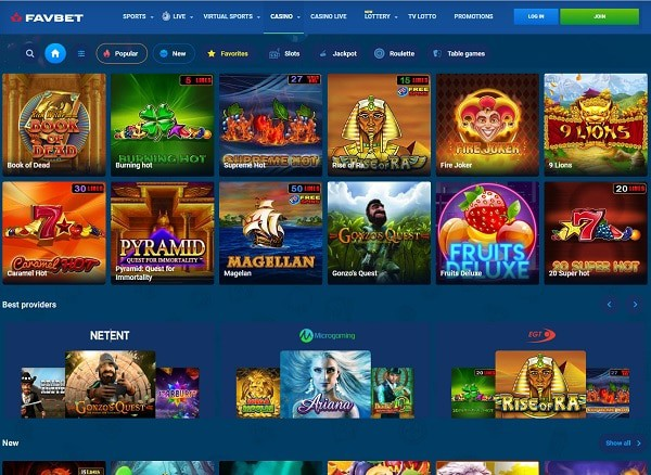 FavBet Casino   100% bonus, free spins, and risk-free bets   Review