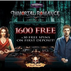 1600 EUR/USD and 30 free spins in Immortal Romance