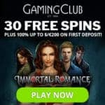 GamingClub Casino 30 exclusive free spins on Immortal Romance