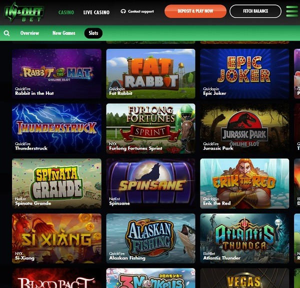 InAndOutBet Casino free spins and cashback bonus
