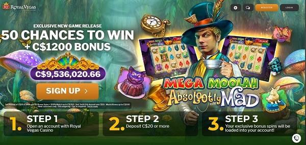 50 free chances to Royal Vegas