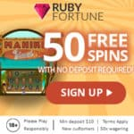 Ruby Fortune Casino 50 no deposit free spins on Mahiki Island