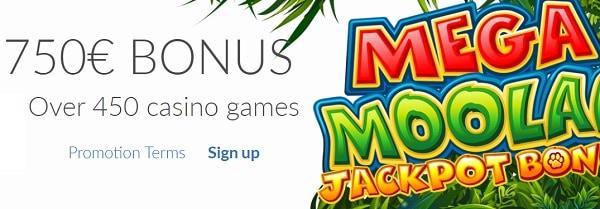 $750 Welcome Bonus on Mega Moolah Jackpot