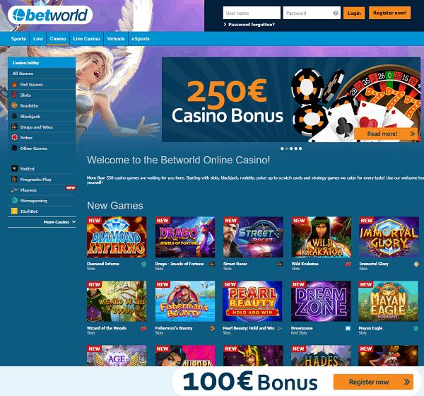 Betworld Casino and Sportsbook Free Spins and No Deposit Bonuses