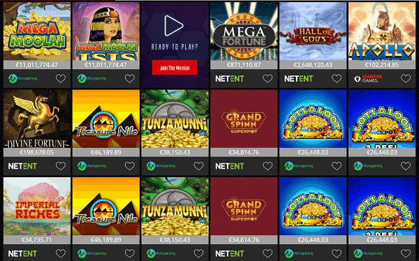 Slots, Jackpots, Video Poker, Scratch Cards, Live Dealer