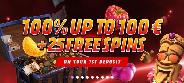 100% bonus on first deposit plus 25 free spins