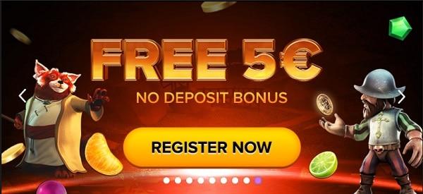 Grab 5 EUR no deposit bonus on all games!